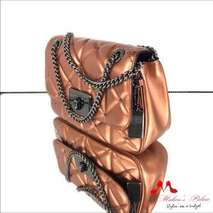Coach Bags - Coach Cassidy Quilted Bronze Chain Strap Crossbody